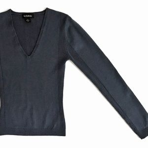 Le Chateau Ribbed V-Neck Sweater S Blue